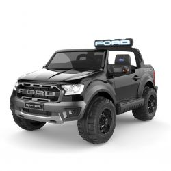 Electric ride-on car Ford Raptor, Black, EVA wheels, High quality suspension, LED Lights, Double leather seat, 2.4 GHz RC, Key start, 4 X MOTOR, USB, SD card, ORIGINAL license