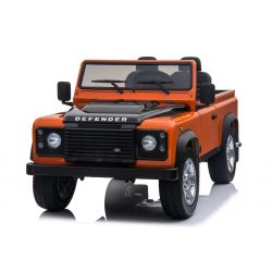 Electric Ride-On Toy Car Land Rover Defender, Licensed, Radio with USB/TF input, 2.4Ghz Remote control, Battery 2 x 12V/7AH, 4 X MOTOR, Double Leather Seat, EVA Wheels, Orange