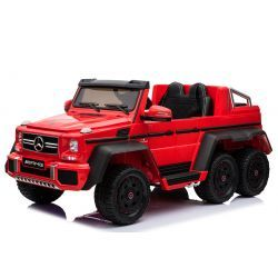 Electric Ride-On Toy Car Mercedes-Benz G63 6X6, MP3 PLayer, Wheel Lights & Bottom Lights, 2.4Ghz, 12V14AH, Removable Battery Box, 4 X MOTOR, Remote Control, Double Leather Seat, GUM Wheels, FM Radio, Servomotor, Two pedal, Red