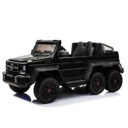 Electric Ride-On Toy Car Mercedes-Benz G63 6X6, MP3 PLayer, Wheel Lights & Bottom Lights, 2.4Ghz, 12V14AH, Removable Battery Box, 4 X MOTOR, Remote Control, Double Leather Seat, GUM Wheels, FM Radio, Servomotor, Two pedal, Black
