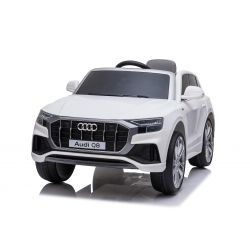 Electric Ride on Car Audi Q8, White, Original Licenced, Leather seat, Opening doors, 2x 25W Engine, 12 V Battery, 2.4 Ghz remote control, Soft EVA wheels, LED lights, Soft start, ORIGINAL License