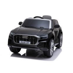 Electric Ride on Car Audi Q8, Black, Original Licenced, Leather seat, Opening doors, 2x 25W Engine, 12 V Battery, 2.4 Ghz remote control, Soft EVA wheels, LED lights, Soft start, ORIGINAL License