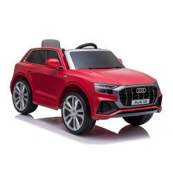Electric Ride on Car Audi Q8, Red, Original Licenced, Leather seat, Opening doors, 2x 25W Engine, 12 V Battery, 2.4 Ghz remote control, Soft EVA wheels, LED lights, Soft start, ORIGINAL License