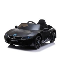 Electric Ride on Car BMW i8, Black, Original Licenced, Leather seat, Opening doors, 2x 25W Engine, 12 V Battery, 2.4 Ghz remote control, Soft EVA wheels, Suspension, Soft start