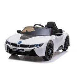 Electric Ride on Car BMW i8, White, Original Licenced, Leather seat, Opening doors, 2x 25W Engine, 12 V Battery, 2.4 Ghz remote control, Soft EVA wheels, Suspension, Soft start