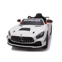 Electric Ride on Car Mercedes-Benz GT4, White, Original Licenced, Battery Powered, Opening Doors, 2x Engine, 12 V Battery, 2.4 Ghz remote control, Soft EVA wheels, Servomotor, Smooth start
