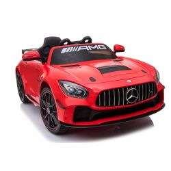 Electric Ride on Car Mercedes-Benz GT4, Red, Original Licenced, Battery Powered, Opening Doors, 2x Engine, 12 V Battery, 2.4 Ghz remote control, Soft EVA wheels, Servomotor, Smooth start