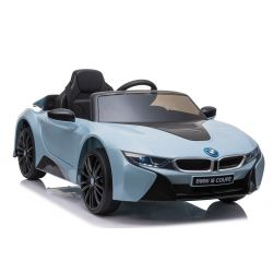 Electric Ride on Car BMW i8, Blue, Original Licenced, Leather seat, Opening doors, 2x 25W Engine, 12 V Battery, 2.4 Ghz remote control, Soft EVA wheels, Suspension, Soft start