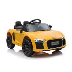 Electric Ride on Car Audi R8 Small, Yellow, Original Licenced, Battery Powered, Opening doors, 2x 35W Engine, 12 V Battery, 2.4 Ghz remote control, Soft EVA wheels, Suspension, Soft start