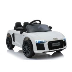 Electric Ride on Car Audi R8 Small, White, Original Licenced, Battery Powered, Opening doors, 2x 35W Engine, 12 V Battery, 2.4 Ghz remote control, Soft EVA wheels, Suspension, Soft start