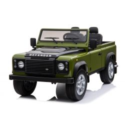 Electric Ride-On Toy Car Land Rover Defender, Licensed, Radio with USB/TF input, 2.4Ghz Remote control, Battery 2 x 12V/7AH, 4 X MOTOR, Double Leather Seat, EVA Wheels, Green
