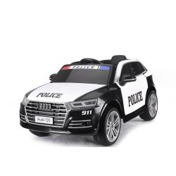 Electric Ride on Police Car Audi Q5, 2.4 GHz DO, 2 X 40W ENGINE, Black, USB, SD Card, Single Leather Seat, Eva Wheels, Soft Start, ORIGINAL license