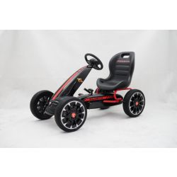 ABARTH Gokart - Pedal Car with idle run, black, Eva wheels, ORIGINAL license
