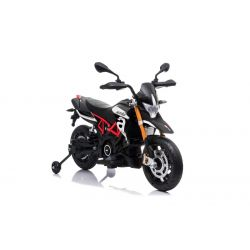 Electric Motorbike APRILIA DORSODURO 900, Licensed, 12V battery, EVA soft wheels, 2 x 18W Engines, Suspension, Metal frame, Metal fork, Auxiliary wheels, Black