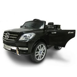 Electric Ride on Car Mercedes-Benz ML 350, Black, Original Licenced, Battery Powered, Opening Doors, Plastic Seat, 2x Engine, 12V Battery, 2.4 Ghz remote control, Smooth start, Cushioning