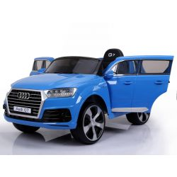 Electric Ride on Car Audi Q7 Quattro New, Blue Painted, Original Licenced, Battery Powered, Opening Doors, Single Seat, 2x Engine, 12 V Battery, 2.4 Ghz remote control, Soft EVA wheels, Smooth start