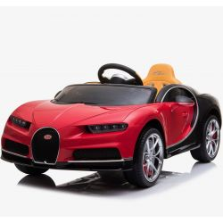 Electric Ride on Car Bugatti Chiron, Red, Original Licenced, Battery Powered, Opening Doors, Leather Seat, 2x Engine, 12 V Battery, 2.4 Ghz remote control, Soft EVA wheels, Smooth start