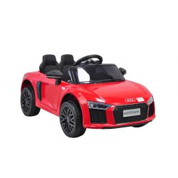 Electric Ride on Car Audi R8 Small, Red, Original Licenced, Battery Powered, Opening doors, 2x 35W Engine, 12 V Battery, 2.4 Ghz remote control, Soft EVA wheels, Suspension, Soft start