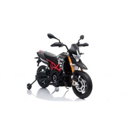 Electric Motorbike APRILIA DORSODURO 900, Licensed, 12V battery, EVA soft wheels, 2 x 18W Engines, Suspension, Metal frame, Metal fork, Auxiliary wheels, Grey