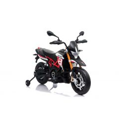 Electric Motorbike APRILIA DORSODURO 900, Licensed, 12V battery, EVA soft wheels, 2 x 18W Engines, Suspension, Metal frame, Metal fork, Auxiliary wheels, Red