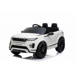 Electric Ride-On Range Rover EVOQUE, White, Double Leather Seat, MP3 Player with USB Input, 4x4 Drive, 12V10Ah Battery, EVA Wheels, Suspension Axles, Key start, 2.4 GHz Bluetooth Remote Control, Licensed