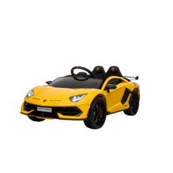 Electric Ride on Car Lamborghini Aventador, Yellow, Original Licenced, Battery Powered, Vertical opening doors, 2x Engine, 12 V Battery, 2.4 Ghz remote control, Soft EVA wheels, Suspension, Soft start