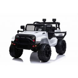 OFFROAD electric ride-on car with rear-wheel drive, white, 12V battery, High chassis, wide seat, Suspended axles, 2.4 GHz Remote control, MP3 player with USB / SD input, LED lights