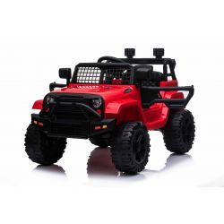 OFFROAD electric car with rear-wheel drive, red, 12V battery, High chassis, wide seat, Suspended axles, 2.4 GHz Remote control, MP3 player with USB / SD input, LED lights
