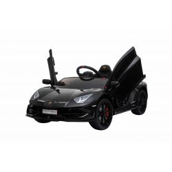 Electric Ride on Car Lamborghini Aventador, Black, Original Licenced, Battery Powered, Vertical opening doors, 2x Engine, 12 V Battery, 2.4 Ghz remote control, Soft EVA wheels, Suspension, Soft start