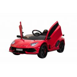 Electric Ride on Car Lamborghini Aventador, Red, Original Licenced, Battery Powered, Vertical opening doors, 2x Engine, 12 V Battery, 2.4 Ghz remote control, Soft EVA wheels, Suspension, Soft start