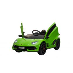Electric Ride on Car Lamborghini Aventador, Green, Original Licenced, Battery Powered, Vertical opening doors, 2x Engine, 12 V Battery, 2.4 Ghz remote control, Soft EVA wheels, Suspension, Soft start