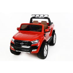 Electric Ride-On Toy Car Ford Ranger Wildtrak 4X4 LCD Luxury, LCD screen, 2.4Ghz, 2x12V, 4 X MOTOR, remote control, two-seats in leather, Soft EVA wheels, FM Radio, Bluetooth, red