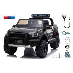 Electric ride-on Police car Ford Raptor, EVA wheels, High quality suspension, Double leather seat, 2.4 GHz RC, Key start, 2 X MOTOR, USB, SD card, ORGINAL license