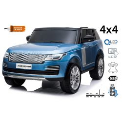 Electric Ride-On Range Rover, Blue Painted, Double Leather Seat, LCD Display with USB Input, 4x4 Drive, 2x 12V7Ah Battery, EVA Wheels, Suspension Axles, Key start, 2.4 GHz Bluetooth Remote Control