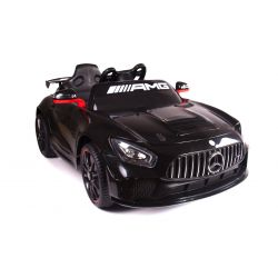 Electric Ride on Car Mercedes-Benz GT4, Black, Original Licenced, Battery Powered, Opening Doors, 2x Engine, 12 V Battery, 2.4 Ghz remote control, Soft EVA wheels, Servomotor, Smooth start