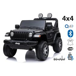 Electric Ride-On JEEP Wrangler, Black, Double Leather Seat, Radio with Bluetooth and USB Input, 4x4 Drive, 12V10Ah Battery, EVA Wheels, Suspension Axles, 2.4 GHz Remote Control, Licensed