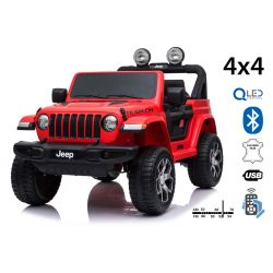 Electric Ride-On JEEP Wrangler, Red, Double Leather Seat, Radio with Bluetooth and USB Input, 4x4 Drive, 12V10Ah Battery, EVA Wheels, Suspension Axles, 2.4 GHz Remote Control, Licensed