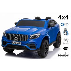 Electric Ride-On Mercedes-AMG GLC, Blue, Double Leather Seat, FM Radio with USB Input, 4x4 Drive, 2x 12V7Ah Battery, EVA Wheels, Suspension Axles, 2.4 GHz Remote Control, Licensed