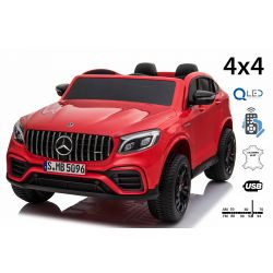 Electric Ride-On Mercedes-AMG GLC, Red, Double Leather Seat, FM Radio with USB Input, 4x4 Drive, 2x 12V7Ah Battery, EVA Wheels, Suspension Axles, 2.4 GHz Remote Control, Licensed