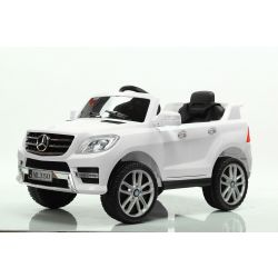 Electric Ride on Car Mercedes-Benz ML 350, White, Original Licenced, Battery Powered, Opening Doors, Plastic Seat, 2x Engine, 12V Battery, 2.4 Ghz remote control, Smooth start, Cushioning