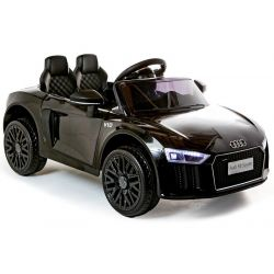 Electric Ride on Car Audi R8 Small, Black, Original Licenced, Battery Powered, Opening doors, 2x 35W Engine, 12 V Battery, 2.4 Ghz remote control, Soft EVA wheels, Suspension, Soft start