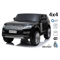 Electric Ride-On Range Rover, Black, Double Leather Seat, LCD Display with USB Input, 4x4 Drive, 2x 12V7Ah Battery, EVA Wheels, Suspension Axles, Key start, 2.4 GHz Bluetooth Remote Control
