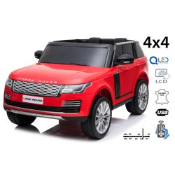 Electric Ride-On Range Rover, Red, Double Leather Seat, LCD Display with USB Input, 4x4 Drive, 2x 12V7Ah Battery, EVA Wheels, Suspension Axles, Key start, 2.4 GHz Bluetooth Remote Control