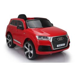 Electric Ride on Car Audi Q7 Quattro New, Red, Original Licenced, Battery Powered, Opening Doors, Single Seat, 2x Engine, 12 V Battery, 2.4 Ghz remote control, Soft EVA wheels, Smooth start