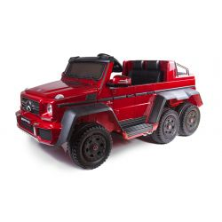 Electric Ride-On Toy Car Mercedes-Benz G63 6X6, LCD Screen, Wheel Lights & Bottom Lights, 2.4Ghz, 12V14AH, Removable Battery Box, 4 X MOTOR, Remote Control, Double Leather Seat, GUM Wheels, FM Radio, Servomotor, Two pedal, Red Painted