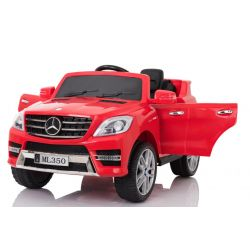 Electric Ride on Car Mercedes-Benz ML 350, Red, Original Licenced, Battery Powered, Opening Doors, Plastic Seat, 2x Engine, 12V Battery, 2.4 Ghz remote control, Smooth start, Cushioning