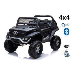 Electric Ride-On Toy Car Mercedes-Benz UNIMOG - Black, 2.4Ghz Remote controller, 4 X 4, two-seats, Suspension, Start button, Soft EVA wheels, USB, Bluetooth
