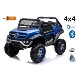 Electric Ride-On Toy Car Mercedes-Benz UNIMOG - Blue Painted, 2.4Ghz Remote controller, 4 X 4, two-seats, Suspension, Start button, Soft EVA wheels, USB, Bluetooth