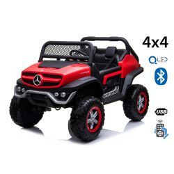 Electric Ride-On Toy Car Mercedes-Benz UNIMOG - Red, 2.4Ghz Remote controller, 4 X 4, two-seats, Suspension, Start button, Soft EVA wheels, USB, Bluetooth