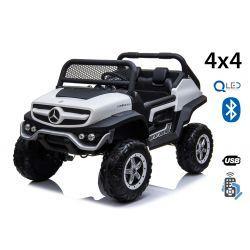 Electric Ride-On Toy Car Mercedes-Benz UNIMOG - White, 2.4Ghz Remote controller, 4 X 4, two-seats, Suspension, Start button, Soft EVA wheels, USB, Bluetooth